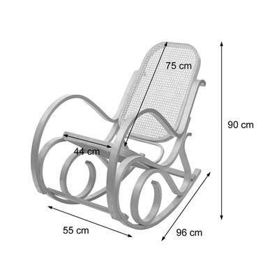 Mecedora Silla de madera M41, estructura en color roble y tapizado piel negra