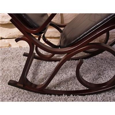 Mecedora Silla de madera M41, estructura en color nogal y tapizado el piel marrón oscuro