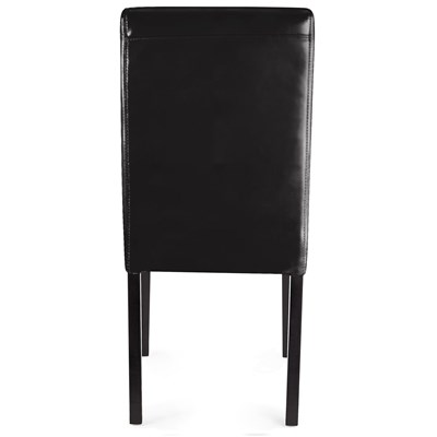Conjunto 4 Sillas de Comedor LITAU, precioso diseño, piel Negra patas oscuras
