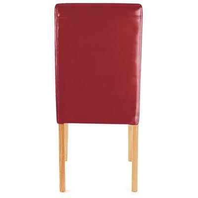 Conjunto 4 Sillas de Comedor LITAU, precioso diseño, piel Roja patas Marrones