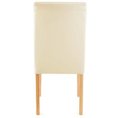 Lote 4 Sillas de Comedor LITAU, precioso diseño, piel crema patas brillantes