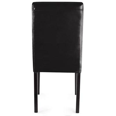 Lote 4 Sillas de Comedor LITAU PIEL REAL, precioso diseño, Negras, patas Oscuras