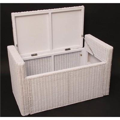 Arcón de Mimbre M92 con cajón interior, cojin 88cm color blanco