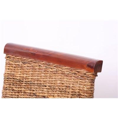 Lote 6 Sillas de comedor o Jardín M45 en madera mimbre marrón y patas madera
