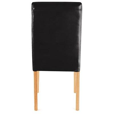 Lote 4 Sillas de Comedor LITAU PIEL REAL, precioso diseño, Negras, patas claras