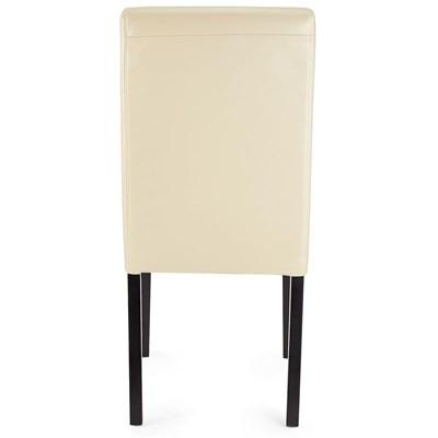 Lote 4 Sillas de Comedor LITAU PIEL REAL, precioso diseño, Crema, patas oscuras