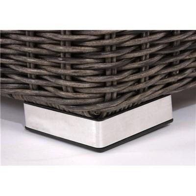 Conjunto Sofa modular SIENA 6+1 en Poly Ratan gris natural, 100% configurable, cojines color burdeos