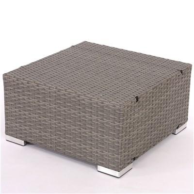Conjunto Poly Rattan 6 Plazas +1, Sistema Modular, Estructura Gris, Cojines Crema