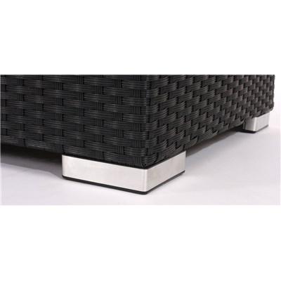 Conjunto Poly Rattan 6 Plazas +1, Sistema Modular, Estructura Negro Antracita, Almohadas en Crema