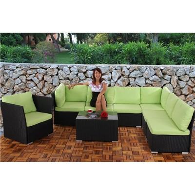 Conjunto Poly Rattan 6 Plazas +1, Sistema Modular, Estructura Negra AntracitaMarrón, Cojines Crema