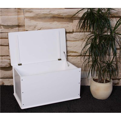 Cesta o baul para la ropa en madera de Pino 73cm, color Blanco