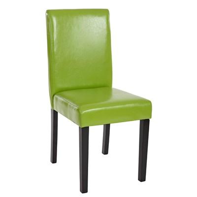 Conjunto de 6 Sillas de Comedor LITAU, precioso diseño, Piel Verde y patas Oscuras