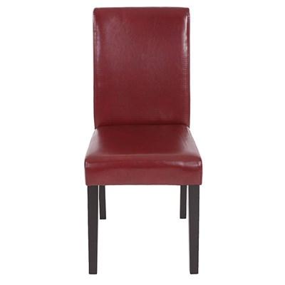 Conjunto de 6 Sillas de Comedor LITAU, precioso diseño, Piel Rojo/Marrón y patas Oscuras