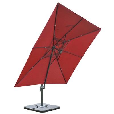 Sombrilla / Parasol IDRA CON SOPORTE Y GIRATORIA, de 3 x 3 metros, Burdeos , Ajustable