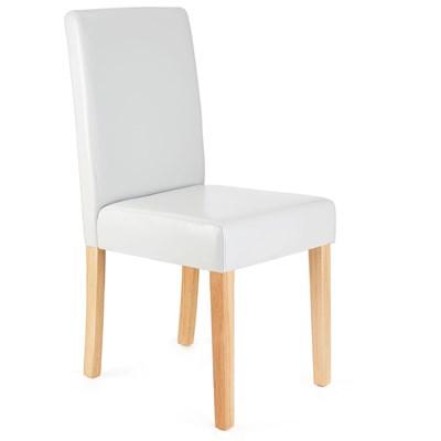 Lote 6  Sillas de Comedor LITAU, precioso diseño, Piel Blanca patas claras