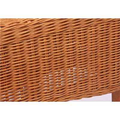 Lote 4 Sillas de comedor o Jardín M42 en madera y mimbre color marrrón claro (cojines incluidos)
