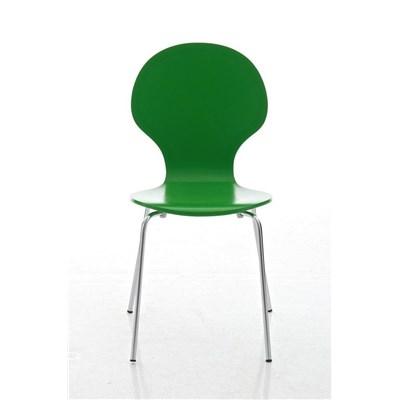 Lote 4 Sillas de Cocina o Comedor CARLO, ergonómicas, en madera y metal, modelo apilable, en Verde