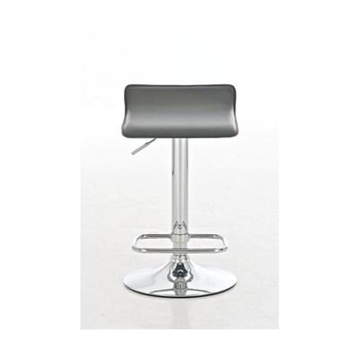 Taburete de Diseño IZAN, estructura metálica cromada, ajustable en altura, en piel color gris
