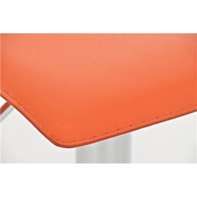 Taburete de Diseño IZAN, estructura metálica cromada, ajustable en altura, en piel color naranja