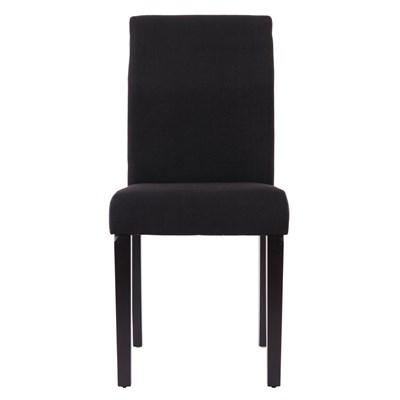 Lote 2 Sillas de Comedor LITAU TELA, precioso diseño, en tela negra y patas oscuras