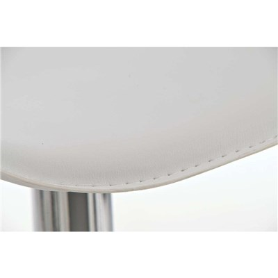 Taburete de Diseño Para Barra YAGO, En Piel Blanca y Estructura Metálica Cromada