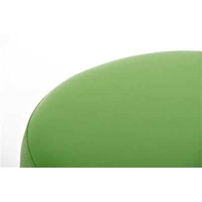 Taburete de Bar o Cocina LARA 85cm, En Piel Verde y Estructura de Acero Inoxidable