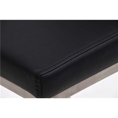 Taburete de Diseño Para Barra PARANA, En Piel Negro y Estructura en Acero Inoxidable, Máxima Calidad