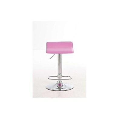 Taburete de Diseño IZAN, estructura metálica cromada, ajustable en altura, en piel color rosa
