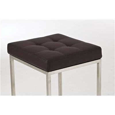 Taburete de Cocina o Bar ELSA PLUS, estructura en acero, asiento acolchado en piel color marrón