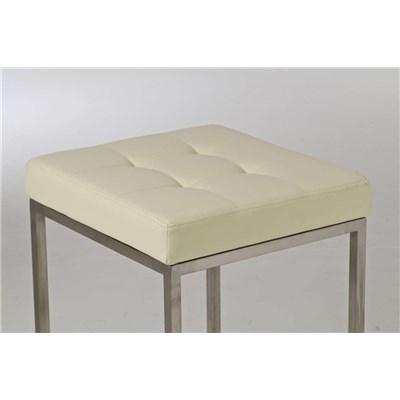 Taburete de Cocina o Bar ELSA PLUS, estructura en acero, asiento acolchado en piel color crema