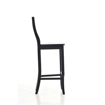Taburete de madera MIRANDA, muy resistente, amplio respaldo, en madera negro