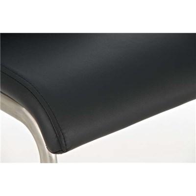 Taburete de Diseño Para Barra NEW YORK, En Piel Negra y Estructura en Acero Inoxidable, Gran Diseño