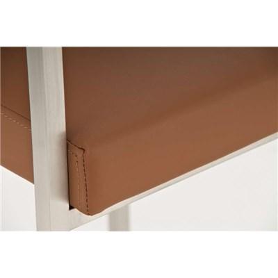 Taburete de Bar ATLANTICO, en acero inoxidable, asiento y respaldo acolchados, en piel color marrón claro