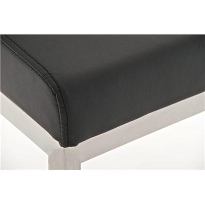 Taburete de Diseño Para Barra PARROT, En Piel Negra y Estructura en Acero Inoxidable, Gran Acolchado