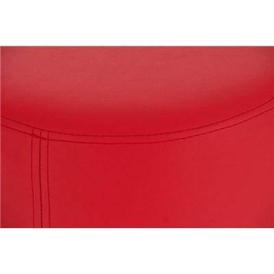 Taburete de Bar o Cocina LARA 76cm, En Piel Roja y Estructura de Acero Inoxidable