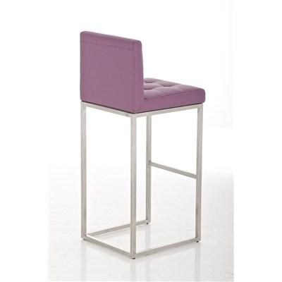 Taburete de Bar INES PRO, estructura en acero, asiento y respaldo acolchados, tapizado en piel morado