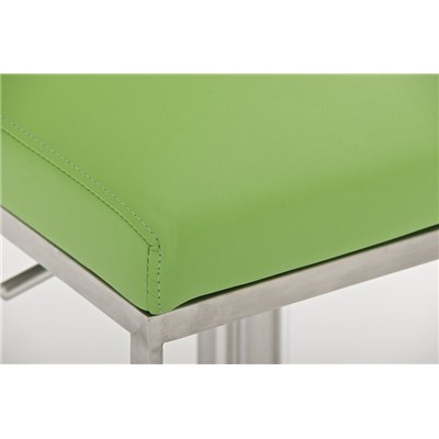 Taburete de Diseño Para Barra PARANA, En Piel Verde y Estructura en Acero Inoxidable, Máxima Calidad