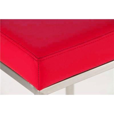 Taburete para Barra o Bar CANADA 80cm, Asiento en Piel Rojo y Estructura en Acero Inoxidable