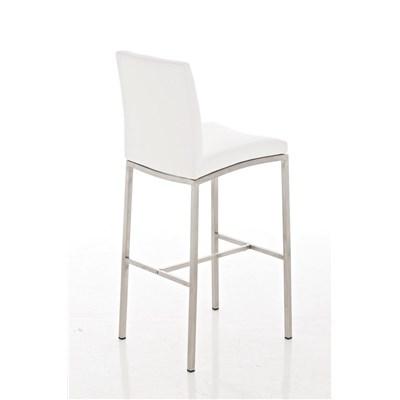 Taburete de Bar LINCON, estructura de acero inoxidable, muy resistente, en piel blanco