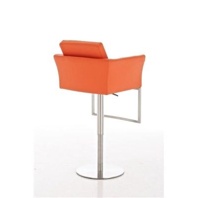 Taburete de Diseño Para Barra PEKIN, En Piel Naranja y Estructura Metálica Cromada