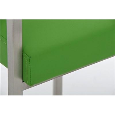 Taburete de Bar ATLANTICO, en acero inoxidable, asiento y respaldo acolchados, en piel color verde