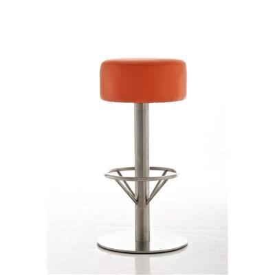 Taburete de Bar o Cocina LARA 76cm, En Piel Naranja y Estructura de Acero Inoxidable
