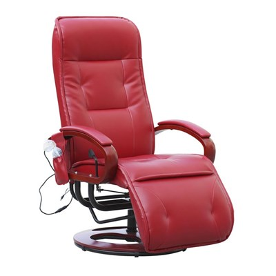 Sillón Relax reclinable ARLES II, con función masaje en Piel rojo