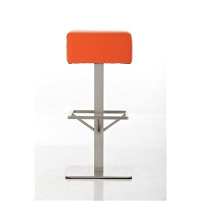 Taburete de Bar MARK 76 PIEL, en acero inoxidable, altura asiento 76cm, tapizado en piel naranja