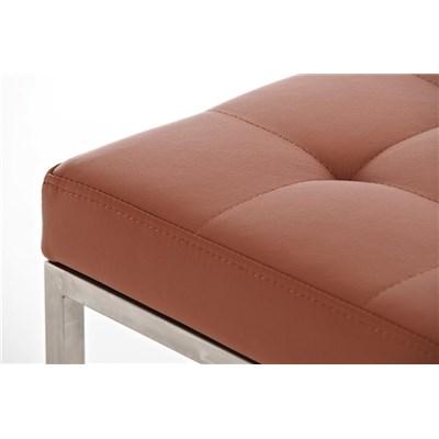 Taburete de Cocina o Bar ELSA PLUS, estructura en acero, asiento acolchado en piel color marrón claro