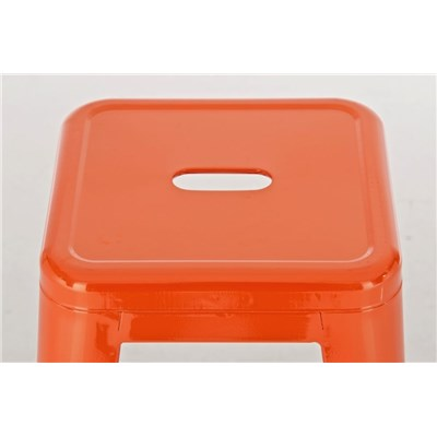 Taburete para Bar o Cocina CELIA, muy resistente, modelo apilable, en metal color naranja
