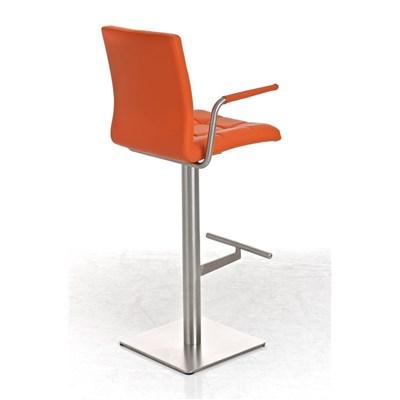 Taburete para Bar JULIETA, Estructura en Acero Inoxidable, gran Calidad, tapizado en piel naranja