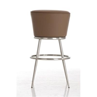 Taburete de Bar CARLOTA 85cm, en acero inoxidable, gran asiento acolchado, en piel color marrón