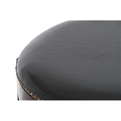 Taburete de Madera CLEVER, En Piel Negra y Patas Marrón Oscuro, Estilo Clásico 100% Exclusivo