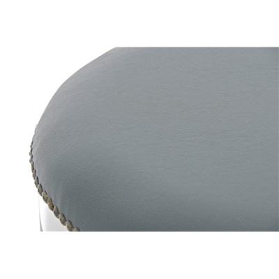 Taburete de Madera CLEVER, En Piel Gris y Patas Blancas, Estilo Clásico 100% Exclusivo